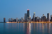 Lake Shore Drive Posters - Chicago Skyline At Dusk Poster by Chris Pritchard