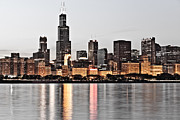 Plaza Metal Prints - Chicago Skyline at Dusk Photo Metal Print by Paul Velgos