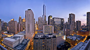 Trump Tower Photos - Chicago skyline at dusk by Scott Norris