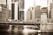 Lasalle Street Framed Prints - Chicago Skyline at LaSalle Street Bridge Framed Print by Paul Velgos