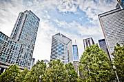 Prudential Prints - Chicago Skyline at Millenium Park Print by Paul Velgos