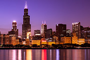 Toned Photograph Posters - Chicago Skyline at Night High Resolution Image Poster by Paul Velgos