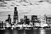 Michigan Posters - Chicago Skyline at Night Poster by Paul Velgos
