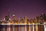 Popular Art - Chicago Skyline at Night Photo by Paul Velgos