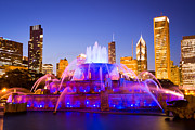 Lighted Park Prints - Chicago Skyline at Night with Buckingham Fountain Print by Paul Velgos