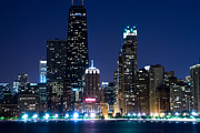 Chicago Skyline At Night With John Hancock Building Print by Paul Velgos