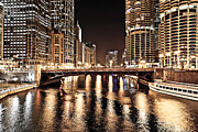 Marina Night Framed Prints - Chicago Skyline at State Street Bridge Framed Print by Paul Velgos