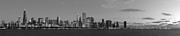 Sky Line Art - Chicago Skyline at Sunrise in Black and White by Twenty Two North Gallery