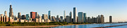 Chicago Attractions Posters - Chicago Skyline at Sunrise Poster by Semmick Photo