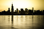 Architecture Metal Prints - Chicago Skyline at Sunset Photo Metal Print by Paul Velgos