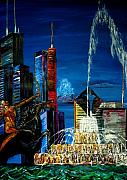River Walk Paintings - Chicago Skyline Buckingham Fountain Sears Tower Trump Tower AON Building by Chicago Oil Paintings By Gregory A Page