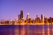 Architecture Art - Chicago Skyline by Night with Hancock Building by Paul Velgos