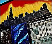 American Abstract Framed Prints - Chicago Skyline Framed Print by Curtis Staiger