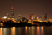 Michigan Prints - Chicago Skyline Downtown City Buildings at Night Print by Paul Velgos