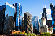 Businesses Posters - Chicago Skyline Downtown City Buildings Poster by Paul Velgos