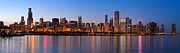 Panoramic Framed Prints - Chicago Skyline Evening Framed Print by Donald Schwartz