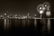 Fourth Posters - Chicago Skyline Fireworks BW Poster by Steve Gadomski