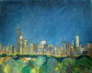 Cities Pastels Posters - Chicago Skyline from Comiskey Poster by Jacob Stempky