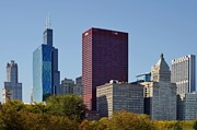 Classic Architecture Prints - Chicago skyline from Millenium Park Print by Christine Till