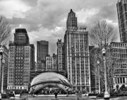 Cloud Gate Posters - Chicago Skyline in Black and White Poster by Tammy Wetzel