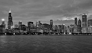 Chicago Skyline Black White Posters - Chicago Skyline Poster by Jeff Lewis