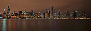 Eddie Yerkish Posters - Chicago Skyline Panorama Poster by Eddie Yerkish