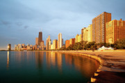 Lake Front Photo Framed Prints - Chicago Skyline Framed Print by Sebastian Musial