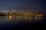 Water Reflections Prints - Chicago Skyline  Print by Timothy Johnson