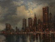 Skylines Painting Posters - Chicago Skyline Poster by Tom Shropshire