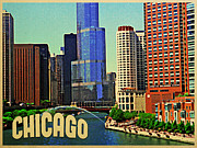 Chicago Digital Art Metal Prints - Chicago Skyline Metal Print by Vintage Poster Designs