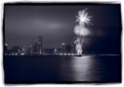 Water Line Photos - Chicago Skyline With Fireworks by Steve Gadomski