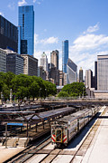Train Station Photos - Chicago Skyline with Metra Train Station by Paul Velgos