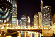Lit Metal Prints - Chicago State Street Bridge at Night Metal Print by Paul Velgos