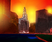Chicago Digital Art Metal Prints - Chicago Sunset Metal Print by Anthony Caruso