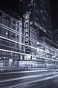 City Tapestries Textiles Originals - Chicago Theater Marquee B and W by Steve Gadomski