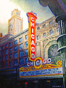 Chicago Paintings - Chicago Theater by Michael Durst