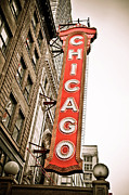 Theatre Photo Framed Prints - Chicago Theater Sign Marquee Framed Print by Paul Velgos