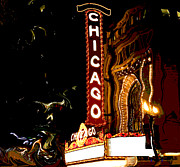 Warped Prints - Chicago Theater Sign  Print by Sophie Vigneault