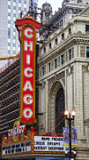 Outdoor Theater Prints - Chicago Theater Print by JH Photo Service