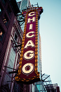 Famous Landmark Posters - Chicago Theatre Marquee Sign Vintage Poster by Paul Velgos