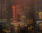Chicago At Night Paintings - Chicago Theatre by Tom Shropshire