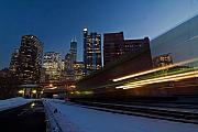 Cities Tapestries Textiles Originals - Chicago Train Blur by Sven Brogren