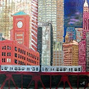 Skyscraper Mixed Media - Chicago Train Cityscape by Char Swift