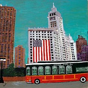 Downtown Mixed Media Originals - Chicago Tribune Trolley  by Char Swift