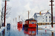 Trolley Paintings - Chicago trolley Red Rocket by Lawrence Welegala