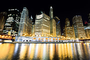 Columbus Drive Photos - Chicago Wacker Drive Buildings at Night by Paul Velgos