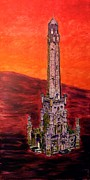 Chicago Landmark Paintings - Chicago Watertower michigan ave gold coast skyline building architecture in purple red orange fire by MendyZ M Zimmerman