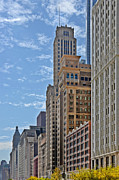Midwest Scenes Posters - Chicago Willoughby Tower and 6 N Michigan Avenue Poster by Christine Till