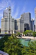 River Digital Art Originals - Chicago with boat by Paul Bartoszek