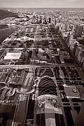 Chicago Prints - Chicagos Front Yard B W Print by Steve Gadomski
